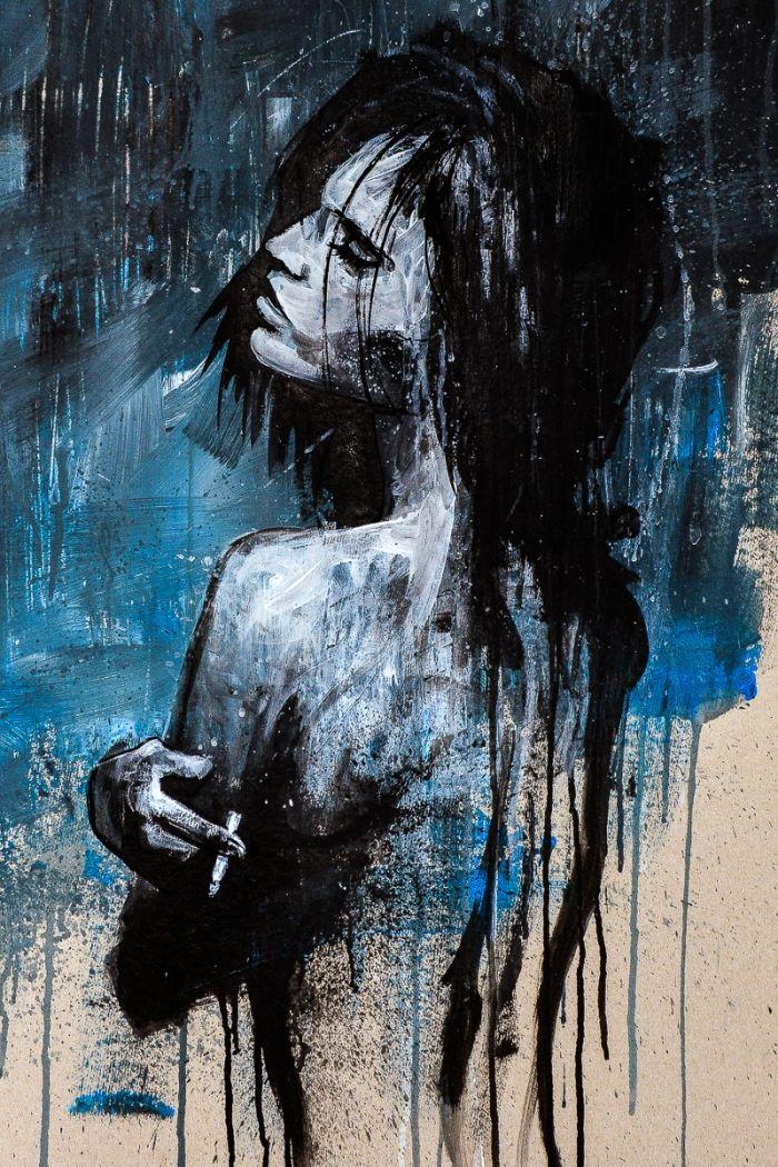 Girl smoking blues